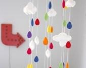 Cloud & Raindrop Baby Mobile- U Pick Colors