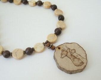 Bear Cub Necklace Woodland Animal Jewelry Nature Beaded Bear Totem Necklace Wood burned