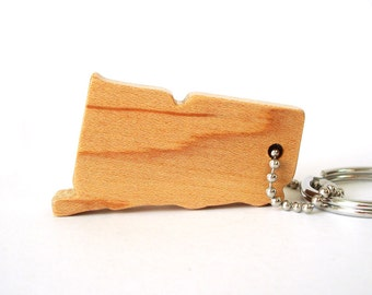Wooden Connecticut State Key Chain Silhouette USA Outline Wood Scroll Saw Key Fob Maple