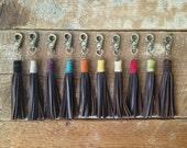 Leather Tassel Keychain- leather tassel - Tupsu Keychain - brass clip keychain - wrapped leather keychain