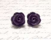 Plum Purple Rose Flower Stud Earrings. Resin Flower Earrings. Floral Post Earrings. Large Floral Earrings. Resin Post Earrings.