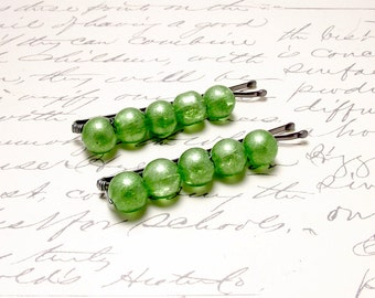 Green Beaded Bobby Pins. Sparkle Hair Pins. Lime Green Hair Clips. Glitter Hair Accessories.