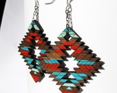 Tribal Abstract Earrings, Large Wood Earring Red and Blue