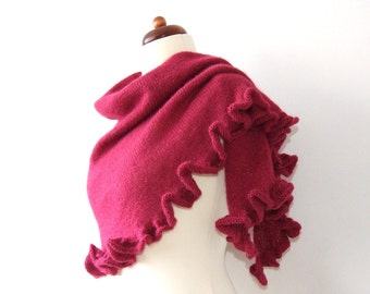 red shawl with ruffle, shimmering wrap, handknit