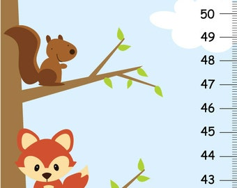 Children Growth Chart - woodland forest friends height chart