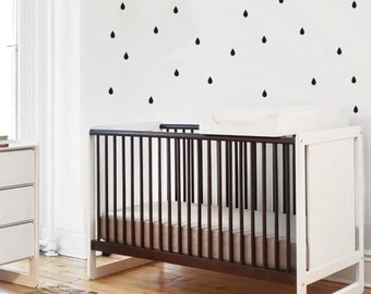 Black and White Nursery Decor, Rain Drops Wall Decal, Baby Nursery Vinyl Decor, Patterned Rain Drops Wall Stickers for Children