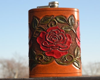 Rose Hand-Carved Leather 12 oz Flask