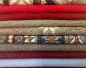 Upcycled 100% Wool Sweater Pieces, Colorful Tans and Reds