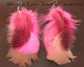 Feather Earrings made with colored feathers
