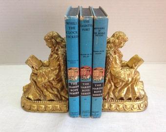 Vintage Set of Gold Glit Cherub Angel Bookends