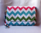 Rainbow Chevron Diaper Clutch - You choose lining color - Optional Polka Dot Changing Pad