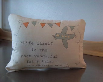 gender neutral baby gift, airplane nursery throw pillow, baby gift, toddler bedroom decor, cotton pillow, whimsical cushion, quote pillows