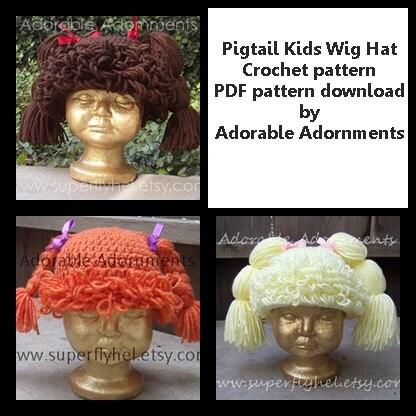 Free Crochet Baby Wig Hat Pattern : Pigtail Kids Wig Hat Crochet pattern only PDF pattern