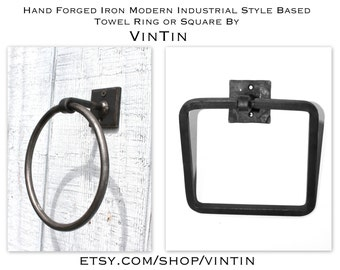 Hand Forged Iron Square Modern Industrial Style Based Towel Ring by VinTin