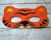 Felt Tiger Mask, Felt Mask, Tiger Mask, Mask, Machine Stitched, Pretend Play Mask, Child Mask, Animal Mask, Felt Animal Mask, Kids Mask