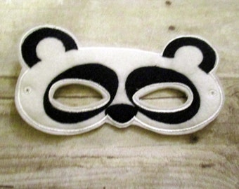 Felt Panda Mask, Felt Mask, Kids Mask, Machine Stitched, Pretend Play, Child Mask,