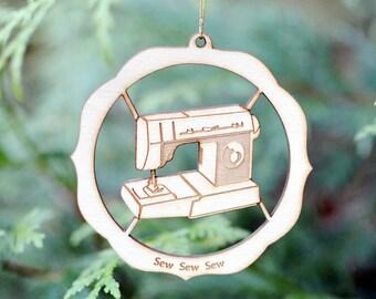 Sew Sew Sew Natural Wood Ornament