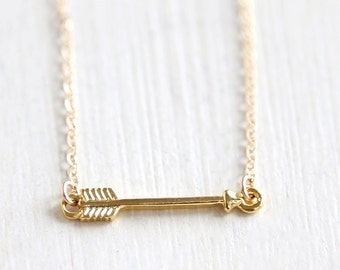 Tiny Gold Arrow Necklace // 14K Gold Filled chain//  simple minimalist jewelry