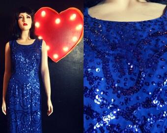 Blue Beaded Silk Gown- 16