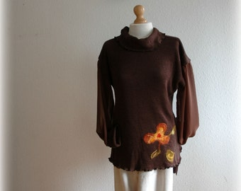 Sweater Turtleneck With Knitted  Brown  With Felt Appliques Chiffon Sleeves  Eco Friendly