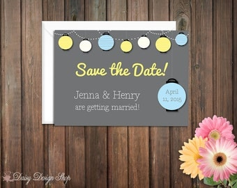 Save the Date Card - Colorful Paper Lanterns