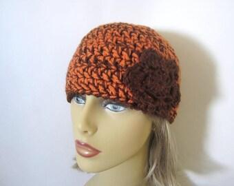 Orange and Brown Crochet Beanie Hat - Womens Flower Hat