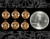 Copper Plated Brass Moonface Charms Set of 6   C-C109