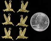 Antiqued Brass Hummingbird Charms Three pairs of 2   *AB-C51