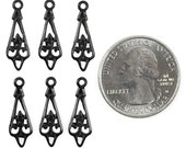Blackened Brass Pointed V Shaped Floral Connectors  Set of Six BB-2C17