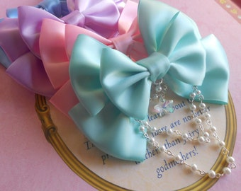 Fairy kei Hair clip or Brooch bow with glass star and white pearl beads