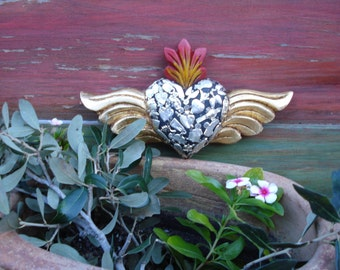 Wood Sacred Flaming Heart Wings Milagro Heart With Milagros