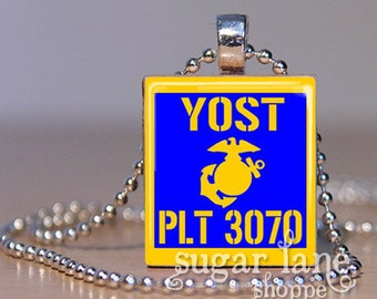 Marine Corp Name PLT Number Guidon Necklace - (Custom) - Scrabble Tile Pendant with Chain