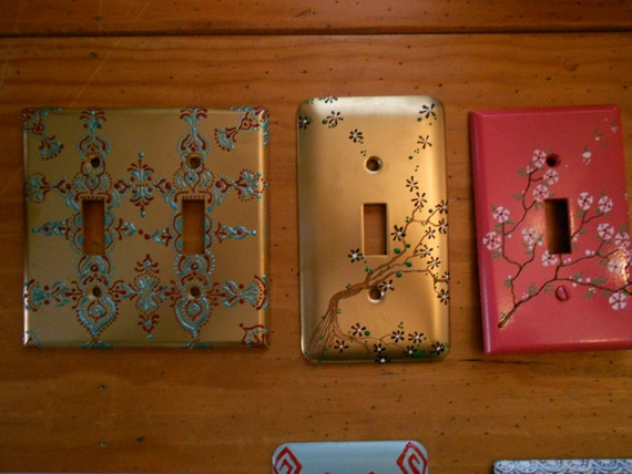 Hand Painted Light Switch Plates: Hand Painted Light Switch Covers,Lighting