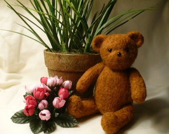 Teddy Bear, Fully Jointed, Needle Felted OOAK