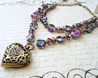 Deep Purple Vitrail Steampunk Pocket Watch Necklace