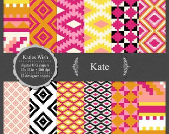 Kate Aztec Tribal digital paper kit small commercial use jpg backgrounds for invitations, scrapbooking, cardmaking, crafts