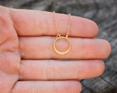 14k, 18k Solid Gold Karma Necklace - Fine Yoga Jewelry. Choose from 6 Different Sizes. Available in Yellow or Rose Gold