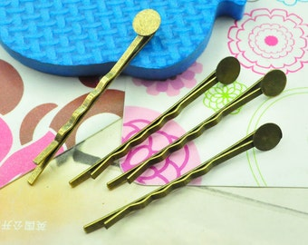 bronze Bobby Pin 100pcs antique bronze metal hair clips hair pins with 8mm Round Pad (55mm)