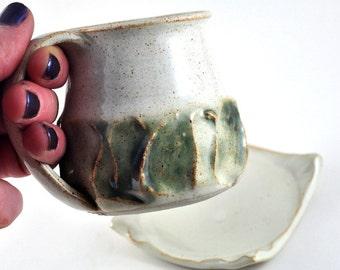 Coffee Mug and Coaster Set Ceramic Handmade Pottery Tea Cup White Bone Green