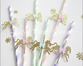 Party Straws, Carousel Theme, Baby Shower, First Birthday, Merry Go Round, Gold Glitter Pony, Pink, Mint Green, Lavender, Bow, Set Of 24