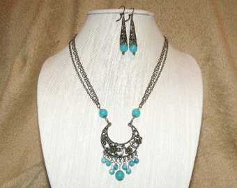 Bohemian Bronze Turquoise Necklace Earrings Filigree Chains Boho Hippie Chic Free Spirit Indie Jewelry