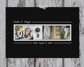 "Last Name Letter Art Print - 11 x 14"" with Alphabet Photos - Custom Home Decor/Personalized Art/Wedding Gift/Anniversary"