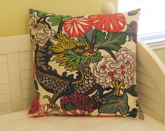 Schumacher Chiang Mai Dragon in Alabaster Designer Pillow Cover - Square and Euro Sizes