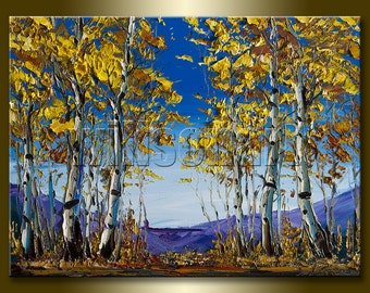 Original Autumn Birch Forest Landscape Painting Oil on Canvas Textured Palette Knife Modern Tree Art 12X16 by Willson Lau
