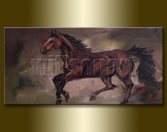 Horse Portrait Original Animal Oil Painting Textured Palette Knife Modern Art 18X36 by Willson Lau