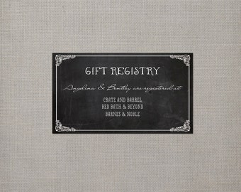 "100 Chalkboard Wedding Registry Cards - the ""Angelina"""