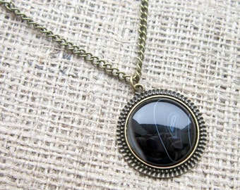 Black Banded Agate pendant bronze necklace - round gemstone crystal chain