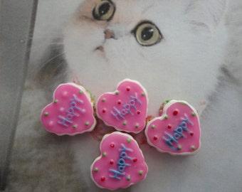 Kawaii pink heart cake cabochon decoden deco diy charms  4 pcs--USA seller
