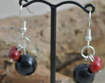 Silver plated fossil bead earrings