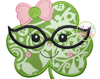 "Shamrock Glasses Girl Applique, Shown with our ""Hambone"" Font NOT Included, Sizes 4x4, 5x5, 6x6, & 7x7, INSTANT DOWNLOAD available"